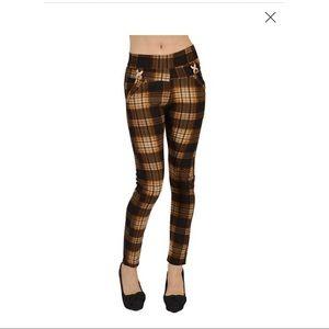 Docele Brown Plaid Faux Fur Lined Leggings